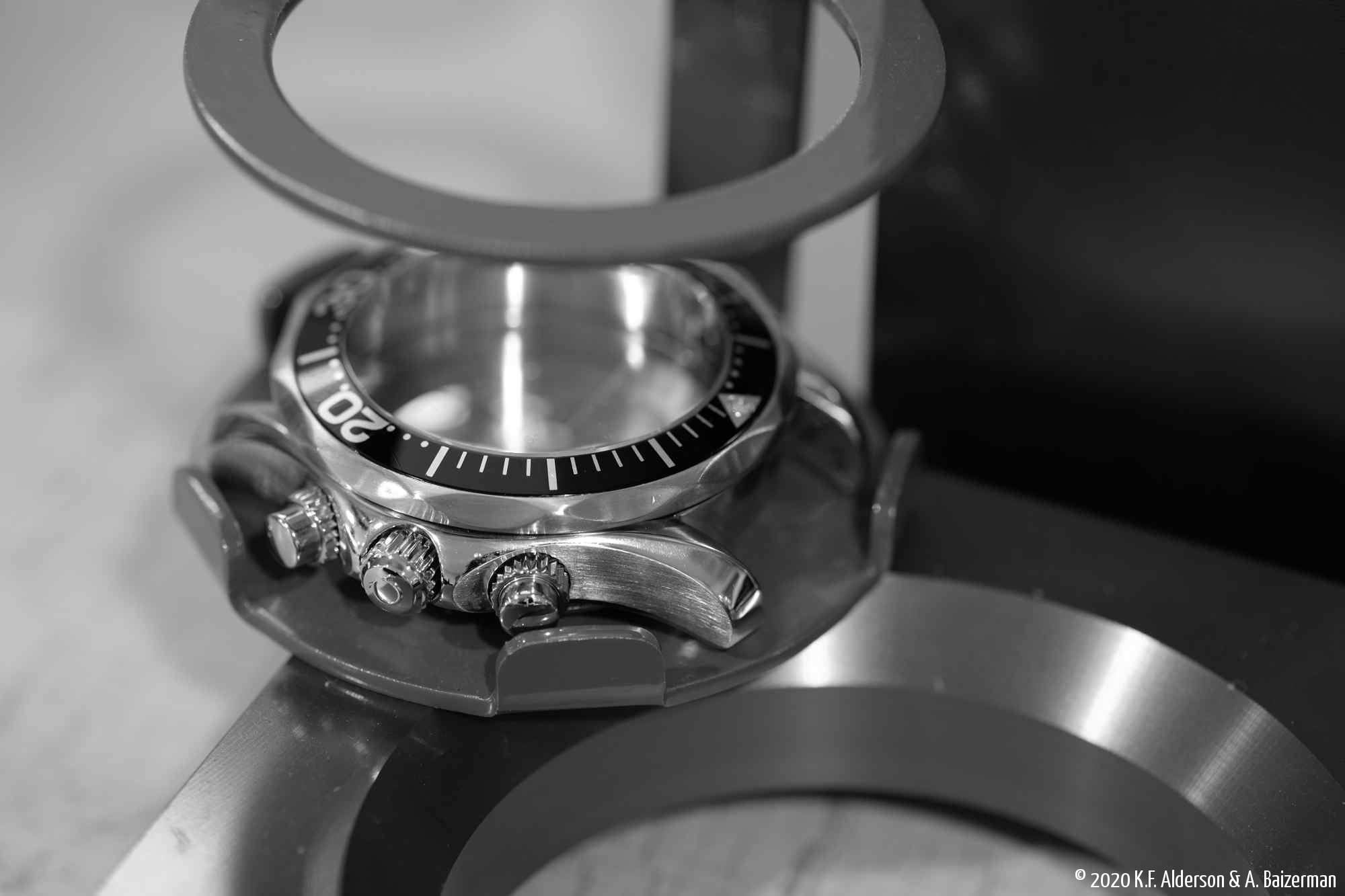 Closeup of diving chronograph
